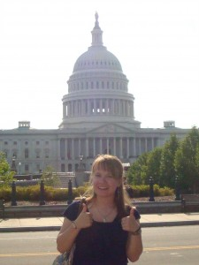 Alicia in front of the Captiol