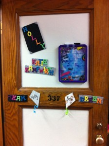 Holly and my door decorated (: