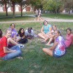 The ladies of Sigma Kappa Tau (KTs) friends, and alumnae gather outside of Erickson before heading to La Ranch for dinner!