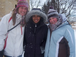 Sledding during our snow day--sophomore year