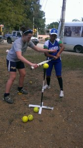 Krista Watson helped teach hitting drills to the girls.