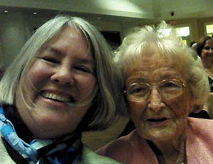 Jane Bahls poses with 90-year-old Doris Pells in Naples, Fla. Pells' sons and late husband are Augustana alumni.