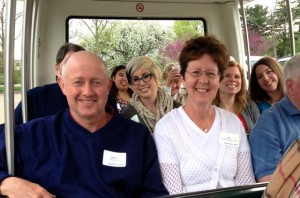 Alumni enjoy a tram tour of the Morton Arboretum.