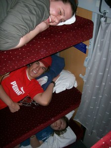 Bunk beds in the sleeper car