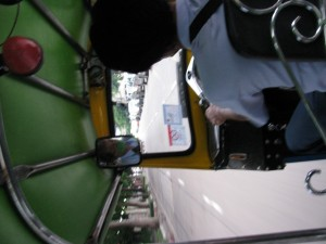 This is the view from inside a tuk-tuk, my favorite mode of transportation.  Hang on tight and hope you don't go around any sharp corners or get run over by a bus!