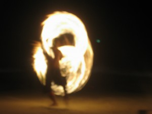 After figuring out how to manipulate the controls on my camera, I took this sweet picture of one of the firespinners in action.  On a slightly more interesting note, I kissed one of the firespinners later that night.  Don't worry, mom, it was just on the cheeck ; )