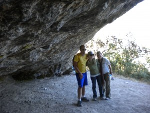 Nick, Brooke, and Kelly in the cave