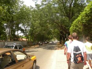 Walking alongside a street in Accra