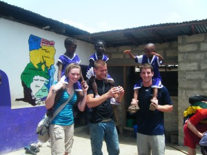 Kyle, Brandon, and myself at the Anani school with some of the children