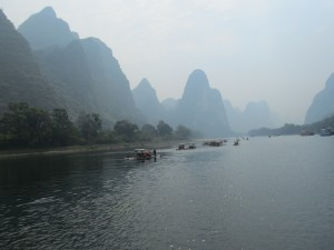 The Karst formations in Guilin along the Pearl River