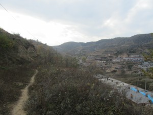 In Yan'an...We hiked on a mountain, and you can see the earthen houses characteristic of Yan'an on the right