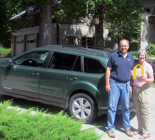 Steve and Jane Bahls prepare to depart on their summer sabbatical, leaving the Dahl Presiden'ts Home at Augustana College in Rock Island, Illinois, for Canada.