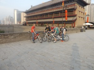 Xi'an city wall. Tandem bikes are socially acceptable