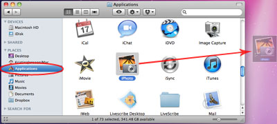 Icon is dragged from Applications folder to desktop